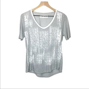 M. Rena Scoop Neck Printed Short Sleeve Top S New